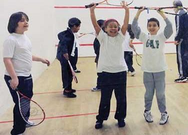 Junior squash at Britannia Leisure Centre, Hackney